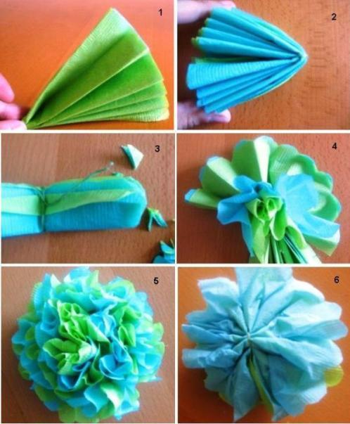 Как делать цветы из салфетки