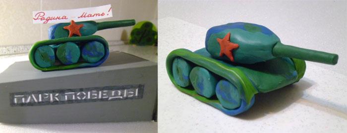 Поделка: танк из пластилина