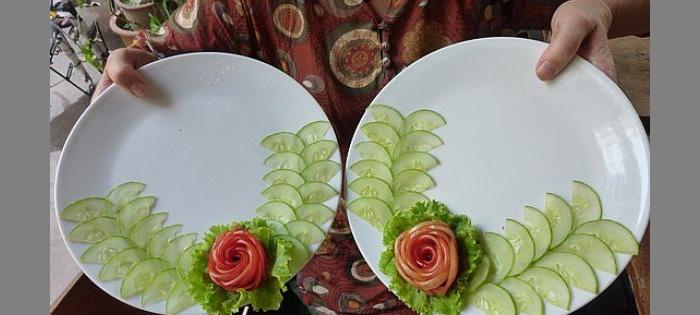 Как сделать украшения из овощей и фруктов фото