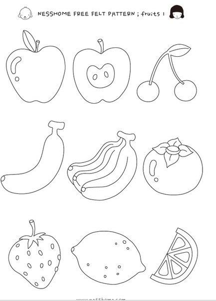 Выкройки из фетра овощей и фруктов