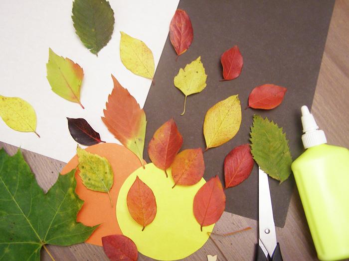 Простая поделка из осенних листьев