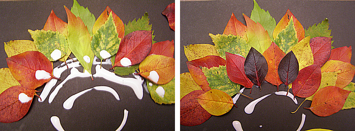 Яркая поделка из осенних листьев