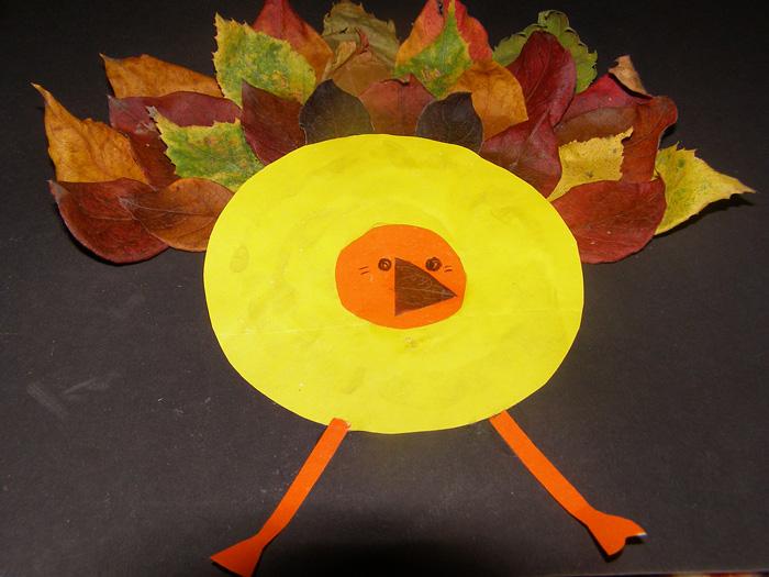 Аппликация из желтных листьев готова