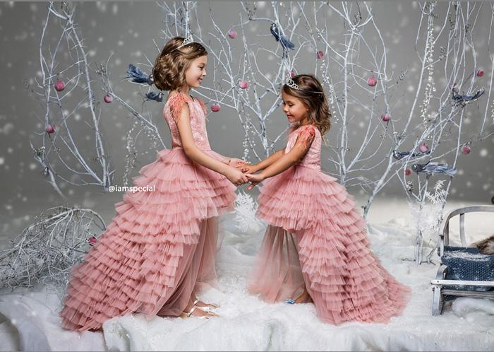 Пышные длинные платья для девочек